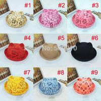 2014 New Fashion Baby Hat Bowler 100% WOOL Fedora Hats Boy Girls Wool Cap Round Dome Cap Top Hat Children Felt Hat 5pcs/lot