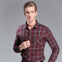 New Men's Thick Warm Plaid Shirts Male Brand Long Sleeve Shirt Winter Shirt Men 2014