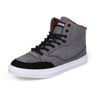 2014 winter new men's high to help increase cotton velvet padded British fashion spell color canvas shoes F727