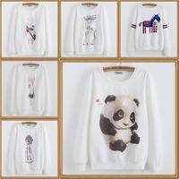 2014 new harajuku women hoody printing A variety of design loose casual Women's round neck long-sleeved Add wool sweatshirt