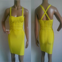 2014 high quality Acid yellow bustier cut bandage dress Celebrity dress  party evening dress wholeslae frees shipping