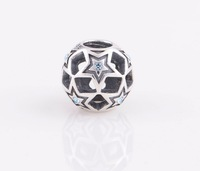 Promotion YZ127 Openwork Star Bead DIY Jewelry 925 Sterling Silver Screw Thread Charms Beads For European Bracelet