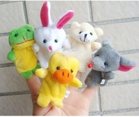 Free Shipping 5 pcs/lot Baby Plush Toy/Finger Puppets/Tell Story Props(10 animal group)Animal Doll /Kids Toys/Children Gift/TOB