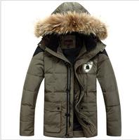 2014 Winter Coat Middle-Aged Men'S Counter Genuine Big Yards Thick real fur collar Down Jacket Men Long Down Jacket Men