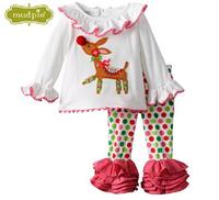 2014 new Christmas 2pc/set new design childrens suit shirt+pants kids clothing baby girls dress cotton white dress New Year