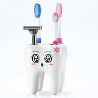 1pc/lot White Lovely 4 Hole Fashion Tooth Style Toothbrush Holder Plastic Bracket Container for Bathroom AY870745