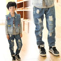 2014 Children's Clothing Importers Autumn and Winter Copper Denim Trousers Korean Kids Jeans Boy Baby Pants Saia Destroyed