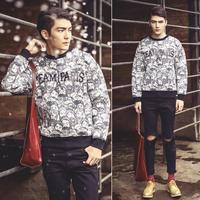Men desigual element neoprene brand sweatshirt pullovers N10043