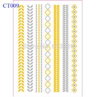 "6""X8"" Gold Flash Tattoo Armbands Bracelet Jewelry Silver And Metallic Gold Tattoo Sticker CT009"