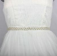 2014 Luxury Imitation Pearl Beaded Trim Bridal Sashes Wedding Dress Belt Handmade White Color