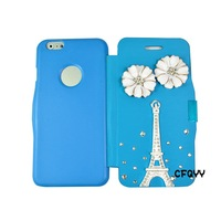 Cute 3D Flower tower  Bling Diamond Case Cover For Apple Iphone 6  4.7 inch