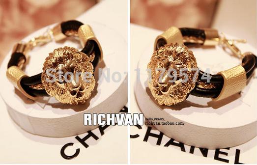 New retro fashion jewelry quality cortex and metal lion head Bracelet wholesale SY004(China (Mainland))