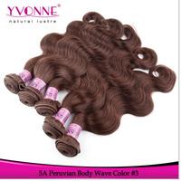3Pcs/lot Grade 5A Peruvian Body Wave Hair ,100% Human Hair Extension,Top quality Aliexpress Yvonne Hair,Color #3