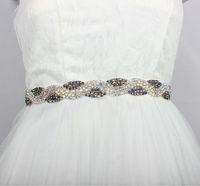 High Quality A Gade Rhinestones AB color Rhienstones Trims Bridal Sash for Wedding Dress Belt Decoration