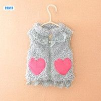 4pc/lot high qulity kids vests winter fur girls vests thicken heart baby clothing children factory PANYA DLP49