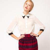 2015 new items Fashion women blouse spring autumn S--XL Women's Tops Chiffon Blouse Three Quarter sleeve Blusas Femininas W00395