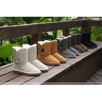 2014 New Women lady high genuine Leather Snow warm winter button Boots Shoes 5803 shoes