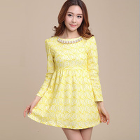 2014 New Slim OL Elegant Long-sleeved Lace dress Women's Autumn Winter Fashion Office dresses Party Dress Vestido