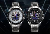 Upgraded Version TVG City Led Quartz Wristwatch Men Fashion Sapphire Waterproof Multifunction Dual Time Stainless Steel