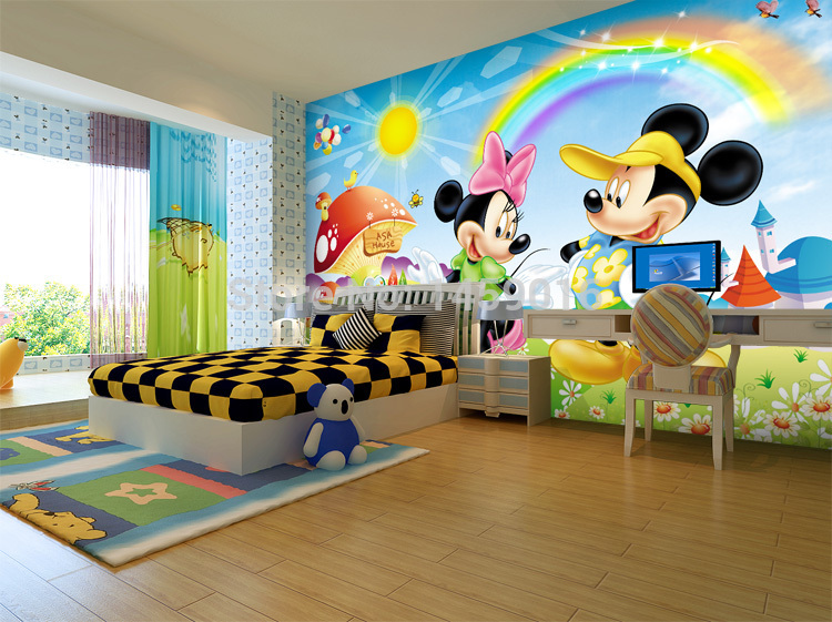 wedding house living/bedding/kid's room,TV setting wall 3D wallpaper mickey mouse papel de parede 3D mural photo wallpaper(China (Mainland))