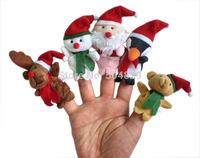wholesale 1000pcs/lot  christmas animal baby finger puppets ,children kid finger toys dolls 5pcs a set