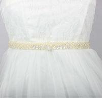 New Design Imitation Pearl Beaded Bridal Sash Wedding Dress Belt Handmade Ivory Color Good Quality BestMore