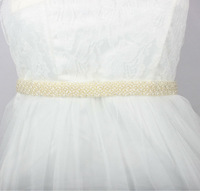 New Design Imitation Pearl Beaded Bridal Sash Wedding Dress Belt Handmade Ivory Color Good Quality BestMore