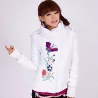 Unique Design Embroidery Long Sleeve Zipper Women's Coats 2014 Fashion Plus Size Straight Winter Down Coat 787