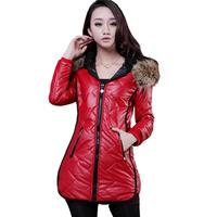 Hot Sale 2014 Korean Fitness Long Sleeve Faux Leather Coat Women Plus Size Patchwork Zipper Fly PU Winter Coats 8809