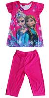 Retial 2014 Frozen Cartoon Girls Clothing Sets Anna Elsa Princess Kids Pajama Set Children Outfits Clothing