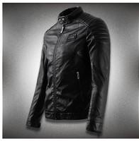 Spring 2014 new men's leather jacket men leather jaqueta couro masculino bomber biker leather jackets for men skin jacket coat.