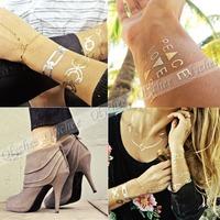High quality 8 kinds of Temporary Metallic Tattoos Jewelry Fancy Flash Body