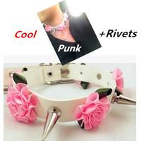 New 2014 Leathe Punk rivet collars garter follower  Handmade Ssexy Cinchers belt HARAJUKU belt Women Sexy Garter Free Shipping