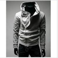 2014 fall and winter clothes new men's oblique zipper hooded cardigan sweater men's long-sleeved jacket men hoodie sweatshirts