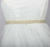 New Design Imitation Pearl Beaded Wedding Dress Sash Wedding Dress Belt Handmade 2.0cm width Ivory Color Good Quality BestMore