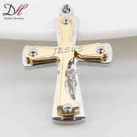 Classic Gold Silver Chain Cross Stainless Steel Pendants Heavy Metal Jesus Fashion Men Pendants,PD1107-1