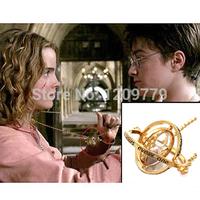 arrival 18K gold plated carve time converter sand timer harry potter cosplay necklace pendant tellurion sand clock H6525 P