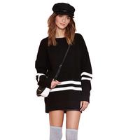 Black and white stripe mosaic baseball wind Strapless rib hem cuff collar women sweater