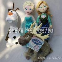 New 2014 Set of 4 cartoon genuine Princesses Elsa Anna & Olaf Sven ~TALKING SOUND~Stuffed Plush Dolls 8 inches 20cm ~