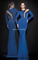 Mermaid Scoop Long Sleeve Crystals Beading Dark Blue See Through Evening Dress 2014 Tarik Ediz Prom