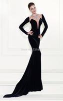 Fashion Mermaid V-neck Black Long Sleeve Crystals Beading See Through Evening Dress 2014 Tarik Ediz Prom