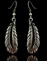 Free shipping(minimum order is $15) Fashion retro women tibetan silver long feather simple earrings