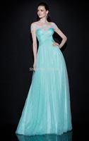 Fashion Mermaid Scoop Short SleeveBlue Crystals Beading See Through Evening Dress 2014 Tarik Ediz Prom