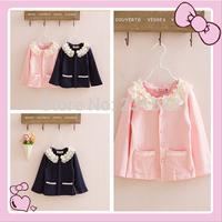 Children's clothing wholesale c autumn girl pure cotton lace collar cardigan/children pure cotton blouse free shipping