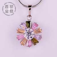 Fashion delicate high quality snow shape pendant necklace Austrian rhinestone  AAA Zircon free shipping DZ012