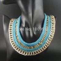 Handmade Classic Turquoise Gold Chain Big Bib Chunky Choker Ethnic Bead Statement Necklaces Jewelry For Women