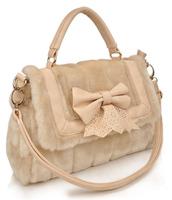 New Women's Rabbit Bag Fur Balls Chain Handbag ladies Fashion Charm bow  Plush bolsos messenger Shoulder Bags Hot small tote