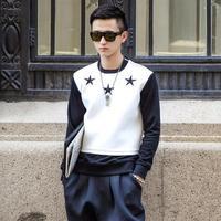 Original design Men black star embroidery desigual element neoprene brand sweatshirt pullover N10040