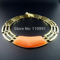 Gold New Design Orange Purple Resin Chain Big Bib Chunky Choker Ethnic Statement Necklaces Jewelry For Women