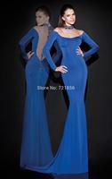 Sexy Mermaid High NeckSequins Long Sleeve Dark Blue Crystals Beading See Through Evening Dress 2014 Tarik Ediz Prom